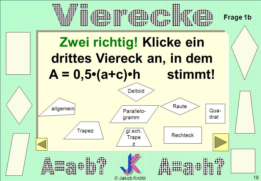 © Jakob Knöbl 19 Zwei richtig! Klicke ein drittes Viereck an, in dem A = 0,5(a+c)h stimmt! Frage 1b gl.sch. Trape z Parallelo- gramm Rechteck Raute Qu