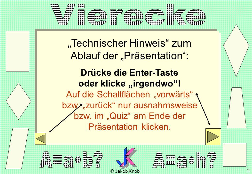 © Jakob Knöbl 2 Technischer Hinweis zum Ablauf der Präsentation: Drücke die Enter-Taste oder klicke irgendwo! Auf die Schaltflächen vorwärts bzw. zurü
