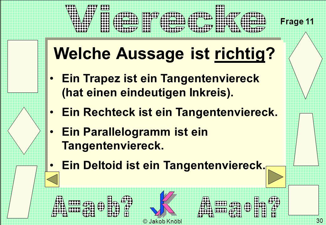 © Jakob Knöbl 30 Ein Trapez ist ein Tangentenviereck (hat einen eindeutigen Inkreis). Ein Rechteck ist ein Tangentenviereck. Ein Parallelogramm ist ei