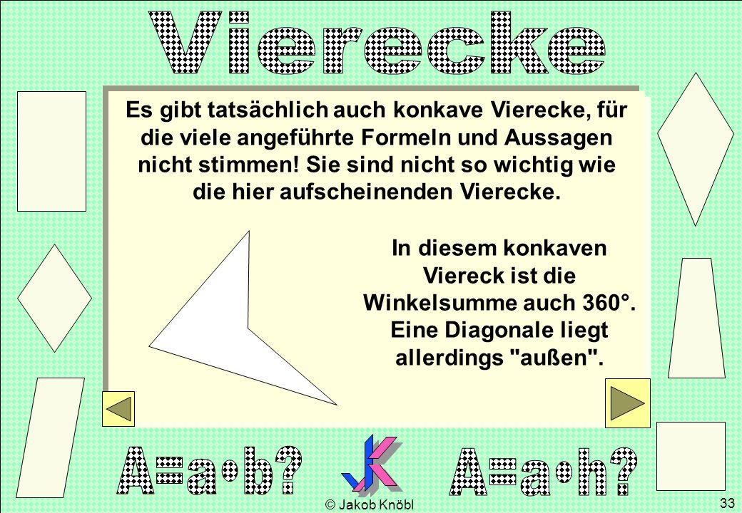 © Jakob Knöbl 33 Es gibt tatsächlich auch konkave Vierecke, für die viele angeführte Formeln und Aussagen nicht stimmen! Sie sind nicht so wichtig wie