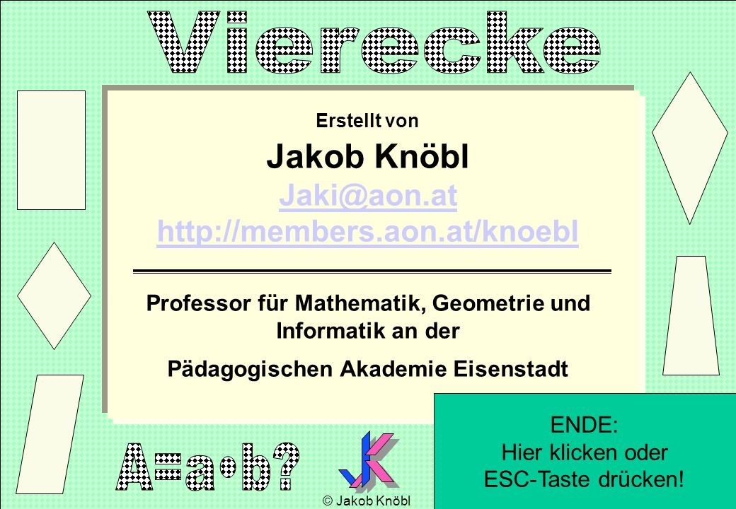 © Jakob Knöbl 35 Erstellt von Jakob Knöbl Jaki@aon.at http://members.aon.at/knoebl Jaki@aon.at http://members.aon.at/knoebl Professor für Mathematik,