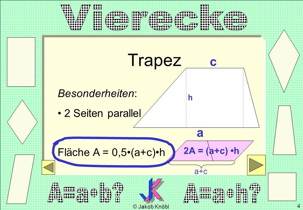 © Jakob Knöbl 4 Trapez Besonderheiten: 2 Seiten parallel Fläche A = 0,5(a+c)h a c h a+c 2A = (a+c) h