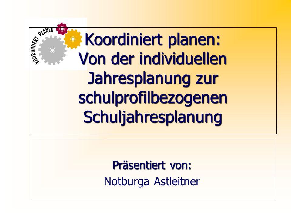 Koordiniert planen: Von der individuellen Jahresplanung zur schulprofilbezogenen Schuljahresplanung Präsentiert von: Notburga Astleitner