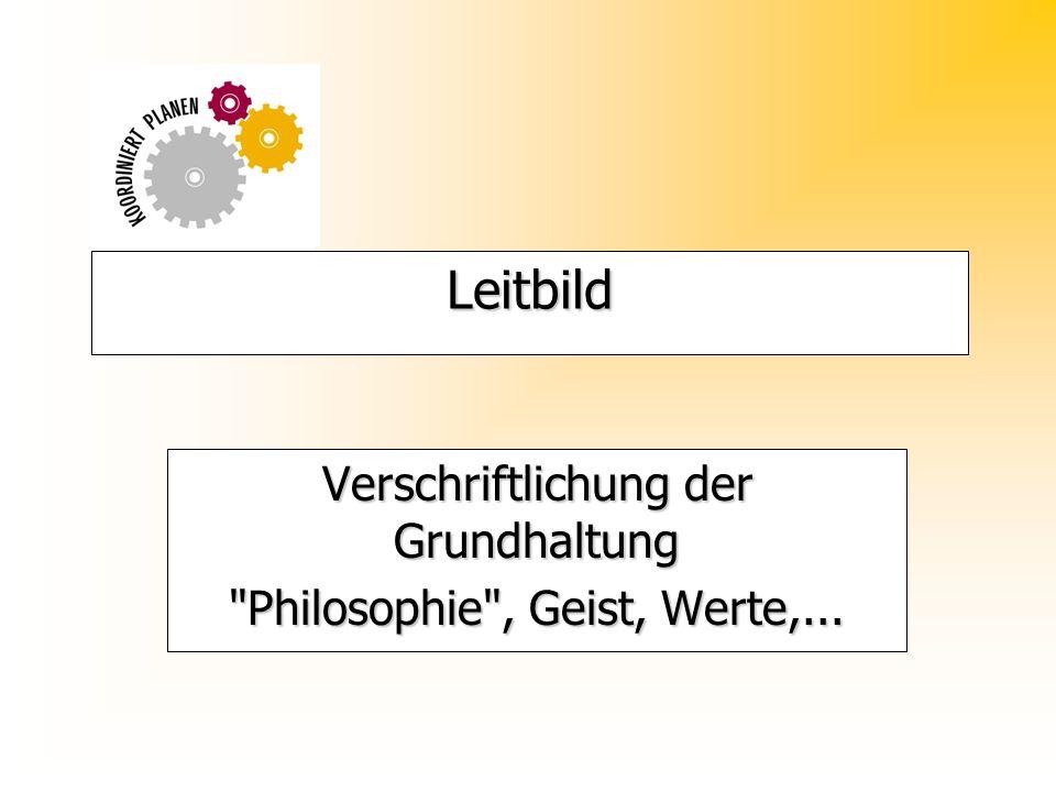 Leitbild Verschriftlichung der Grundhaltung Philosophie , Geist, Werte,...
