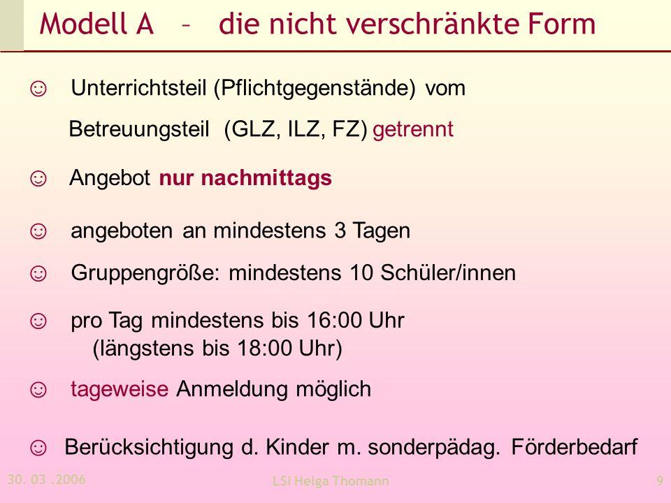 30. 03.2006 LSI Helga Thomann9 Modell A – die nicht verschränkte Form Angebot nur nachmittags Unterrichtsteil (Pflichtgegenstände) vom Betreuungsteil