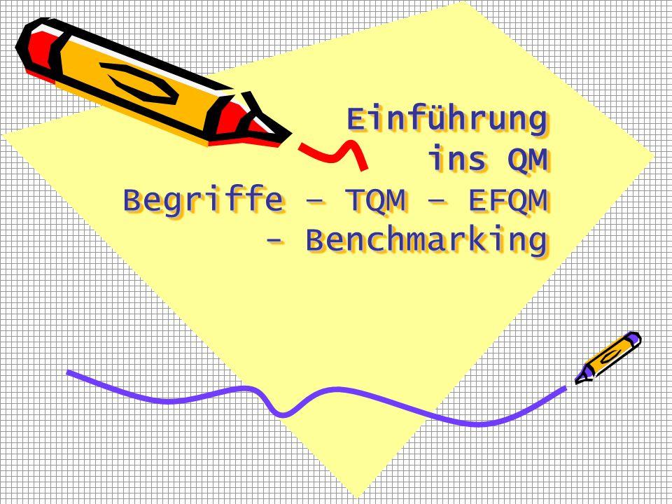 Einführung ins QM Begriffe – TQM – EFQM - Benchmarking