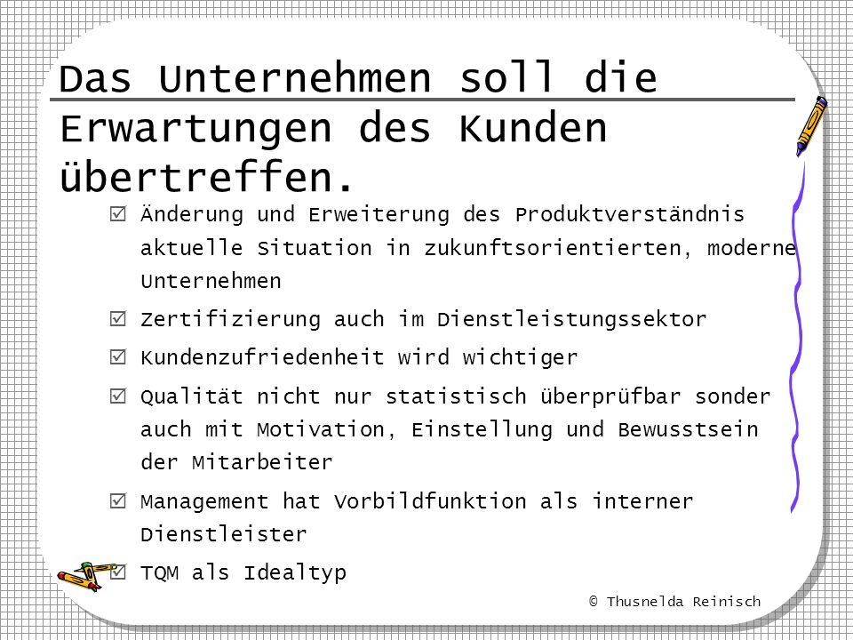 © Thusnelda Reinisch Das Unternehmen soll die Erwartungen des Kunden übertreffen. Änderung und Erweiterung des Produktverständnis aktuelle Situation i