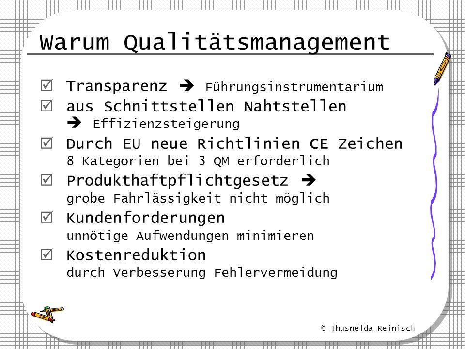 © Thusnelda Reinisch Warum Qualitätsmanagement Transparenz Führungsinstrumentarium aus Schnittstellen Nahtstellen Effizienzsteigerung Durch EU neue Ri