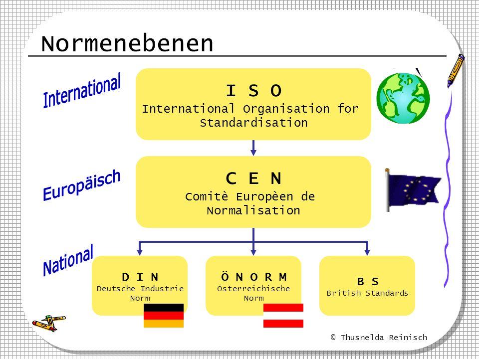 © Thusnelda Reinisch Normenebenen I S O International Organisation for Standardisation C E N Comitè Europèen de Normalisation D I N Deutsche Industrie
