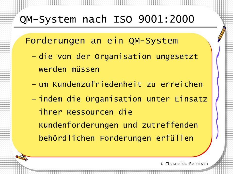 © Thusnelda Reinisch QM-System nach ISO 9001:2000 Forderungen an ein QM-System –die von der Organisation umgesetzt werden müssen –um Kundenzufriedenhe