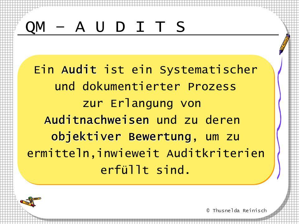 © Thusnelda Reinisch QM – A U D I T S Audit Ein Audit ist ein Systematischer und dokumentierter Prozess zur Erlangung von Auditnachweisen Auditnachwei