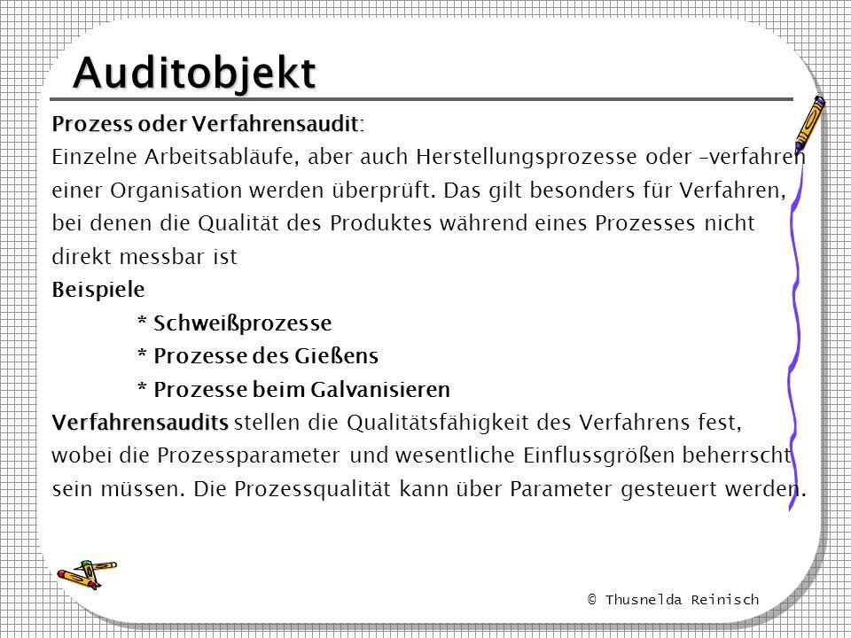 © Thusnelda Reinisch Auditobjekt Prozess oder Verfahrensaudit: Einzelne Arbeitsabläufe, aber auch Herstellungsprozesse oder –verfahren einer Organisat