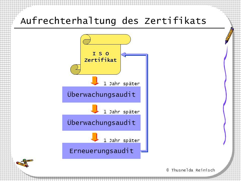 © Thusnelda Reinisch Aufrechterhaltung des Zertifikats I S O Zertifikat Überwachungsaudit Erneuerungsaudit 1 Jahr später