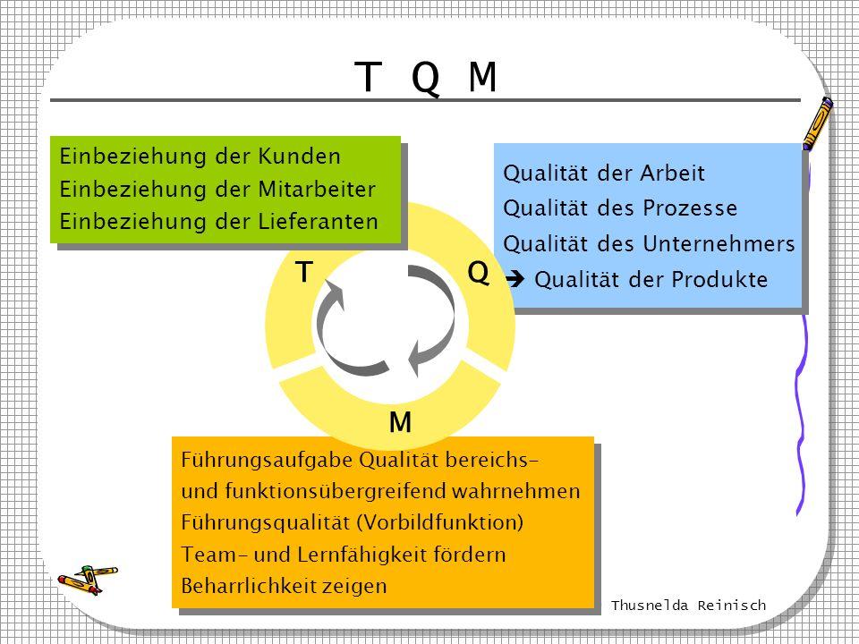 © Thusnelda Reinisch Führungsaufgabe Qualität bereichs- und funktionsübergreifend wahrnehmen Führungsqualität (Vorbildfunktion) Team- und Lernfähigkei