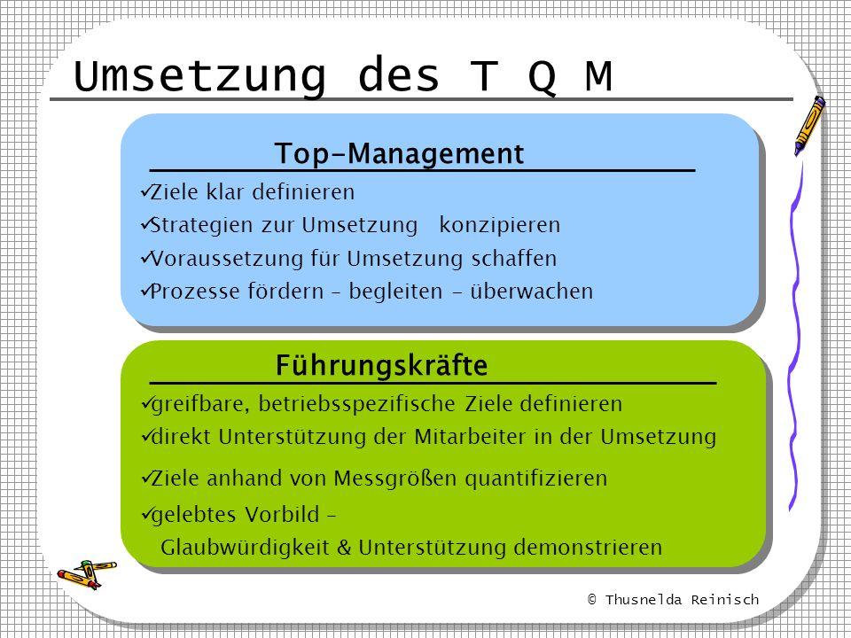 © Thusnelda Reinisch Umsetzung des T Q M Top-Management Ziele klar definieren Strategien zur Umsetzung konzipieren Voraussetzung für Umsetzung schaffe