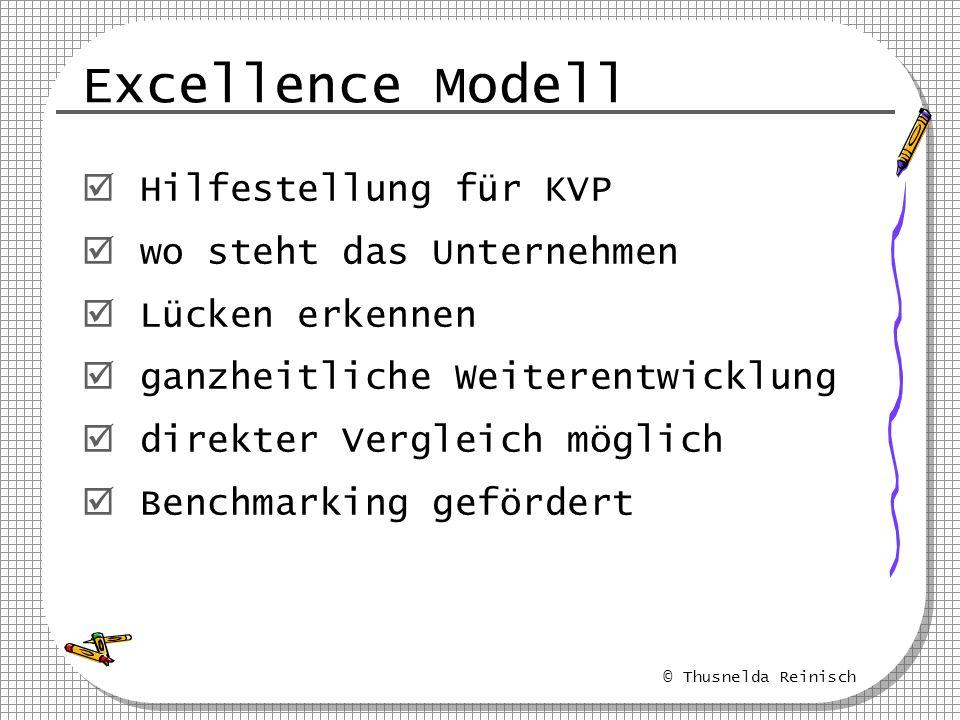 © Thusnelda Reinisch Excellence Modell Hilfestellung für KVP wo steht das Unternehmen Lücken erkennen ganzheitliche Weiterentwicklung direkter Verglei