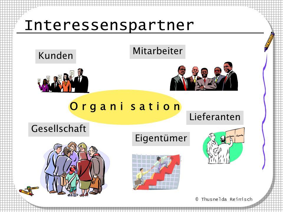 © Thusnelda Reinisch T Q M TQ M technisch-organisatorische System Klare Unternehmens- & Qualitätspolitik Klare organis.