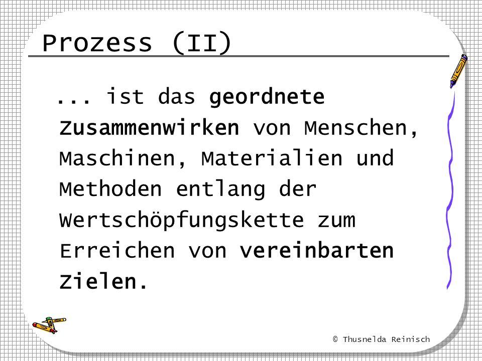 © Thusnelda Reinisch Prozess (II)... ist das geordnete Zusammenwirken von Menschen, Maschinen, Materialien und Methoden entlang der Wertschöpfungskett