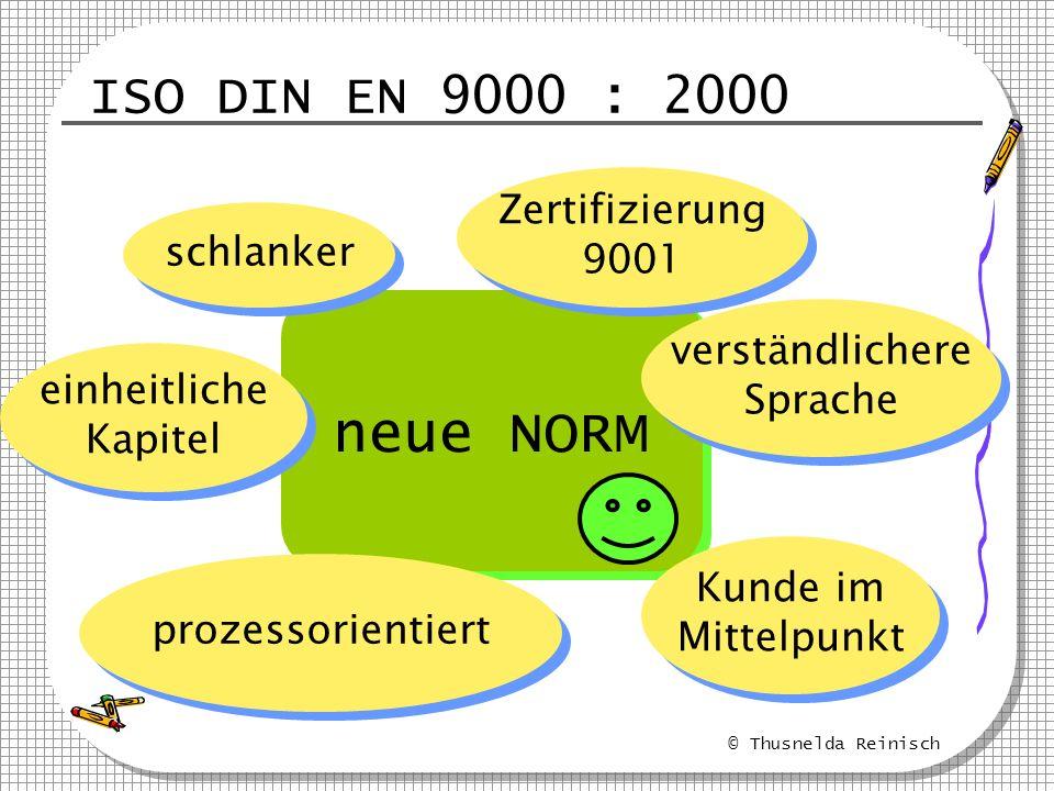 © Thusnelda Reinisch ISO DIN EN 9000 : 2000 neue NORM schlanker Zertifizierung 9001 Zertifizierung 9001 verständlichere Sprache verständlichere Sprach