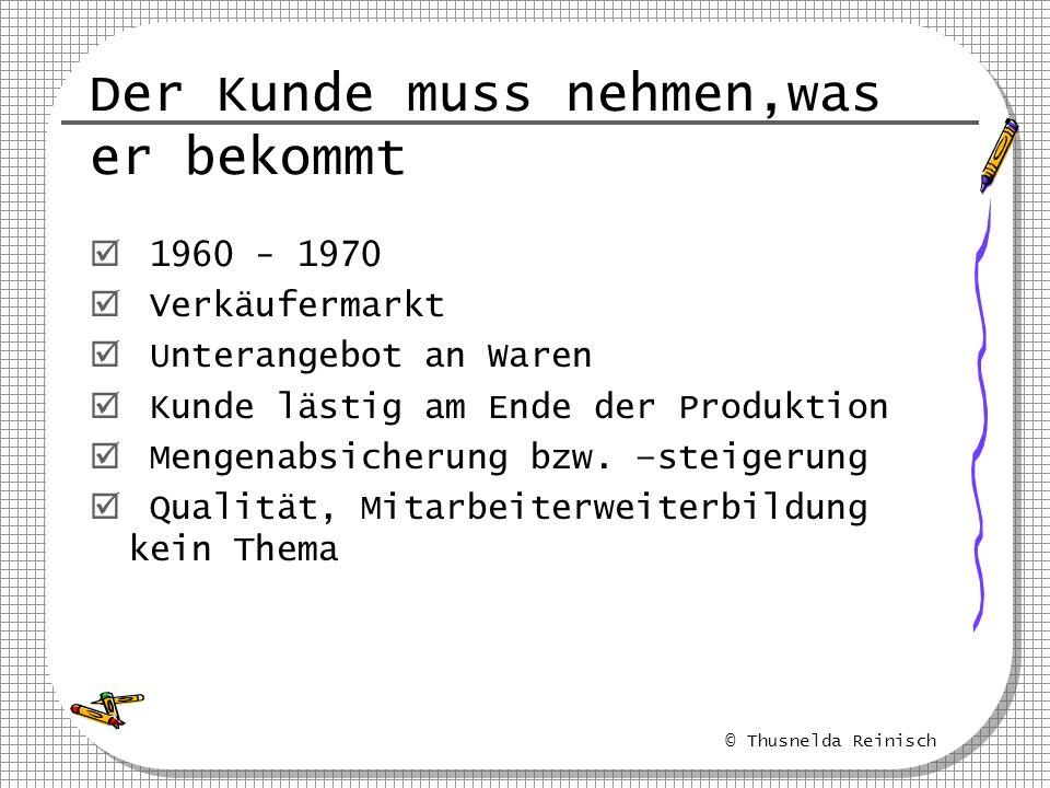 © Thusnelda Reinisch Alte Sichtweise Neue Sichtweise Qualität Produktivität Qualität Nacharbeit Verschwendung Fehler Produktivität