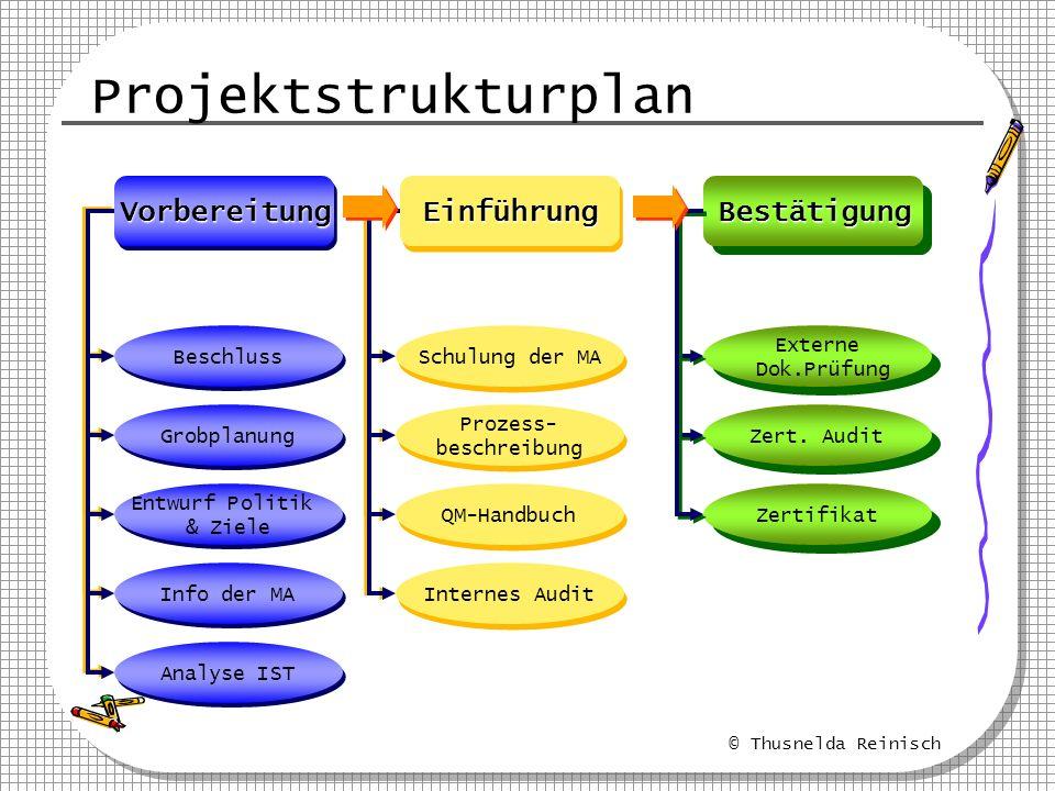 © Thusnelda Reinisch Projektstrukturplan EinführungEinführungVorbereitungVorbereitungBestätigungBestätigung Beschluss Grobplanung Entwurf Politik & Zi