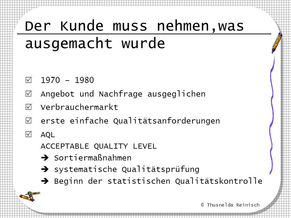 © Thusnelda Reinisch Der Kunde muss nehmen,was ausgemacht wurde 1970 – 1980 Angebot und Nachfrage ausgeglichen Verbrauchermarkt erste einfache Qualitä