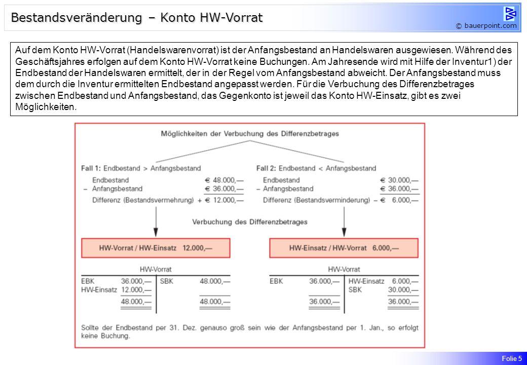 Folie 5 Bestandsveränderung – Konto HW-Vorrat © bauerpoint.com Auf dem Konto HW-Vorrat (Handelswarenvorrat) ist der Anfangsbestand an Handelswaren ausgewiesen.