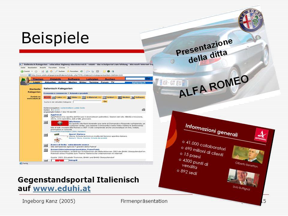 Ingeborg Kanz (2005)Firmenpräsentation15 Beispiele Gegenstandsportal Italienisch auf www.eduhi.atwww.eduhi.at