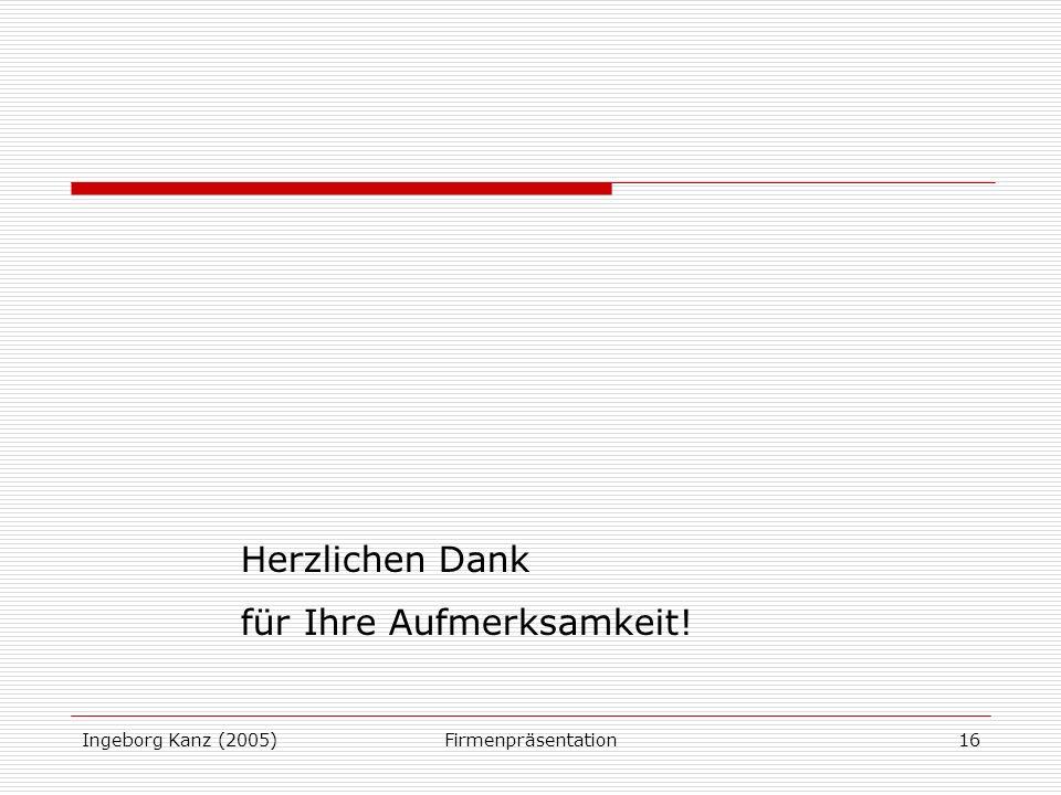 Ingeborg Kanz (2005)Firmenpräsentation16 Herzlichen Dank für Ihre Aufmerksamkeit!