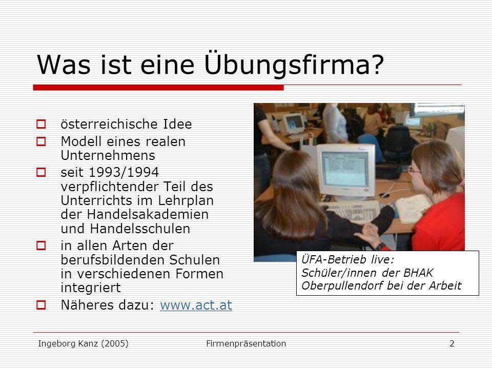 Ingeborg Kanz (2005)Firmenpräsentation2 Was ist eine Übungsfirma.