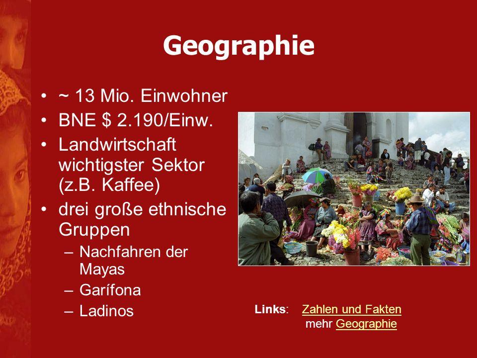 ~ 13 Mio. Einwohner BNE $ 2.190/Einw. Landwirtschaft wichtigster Sektor (z.B. Kaffee) drei große ethnische Gruppen –Nachfahren der Mayas –Garífona –La