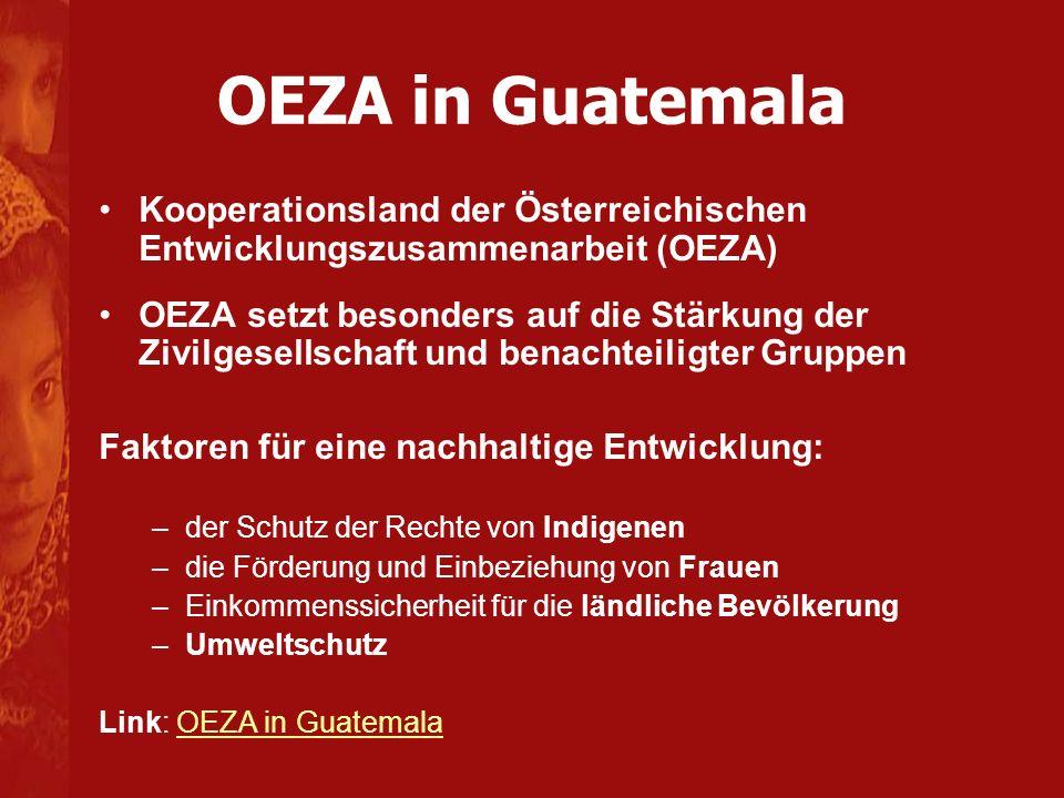 OEZA in Guatemala Kooperationsland der Österreichischen Entwicklungszusammenarbeit (OEZA) OEZA setzt besonders auf die Stärkung der Zivilgesellschaft und benachteiligter Gruppen Faktoren für eine nachhaltige Entwicklung: –der Schutz der Rechte von Indigenen –die Förderung und Einbeziehung von Frauen –Einkommenssicherheit für die ländliche Bevölkerung –Umweltschutz Link: OEZA in GuatemalaOEZA in Guatemala