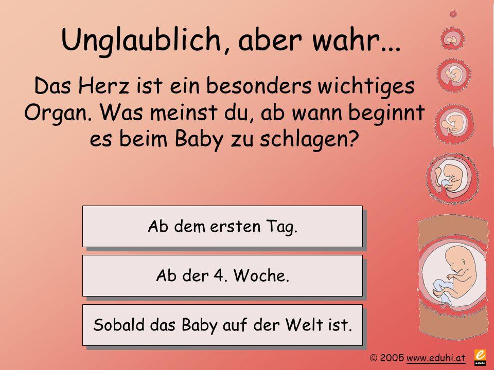 © 2005 www.eduhi.atwww.eduhi.at Unglaublich, aber wahr... Das Herz ist ein besonders wichtiges Organ. Was meinst du, ab wann beginnt es beim Baby zu s