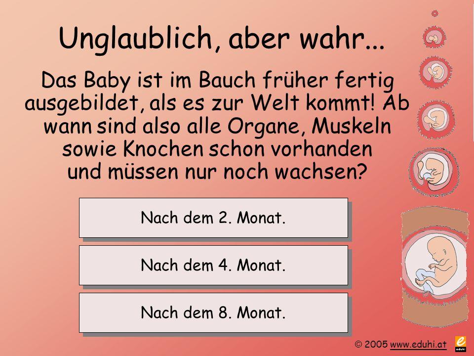 © 2005 www.eduhi.atwww.eduhi.at Unglaublich, aber wahr... Das Baby ist im Bauch früher fertig ausgebildet, als es zur Welt kommt! Ab wann sind also al