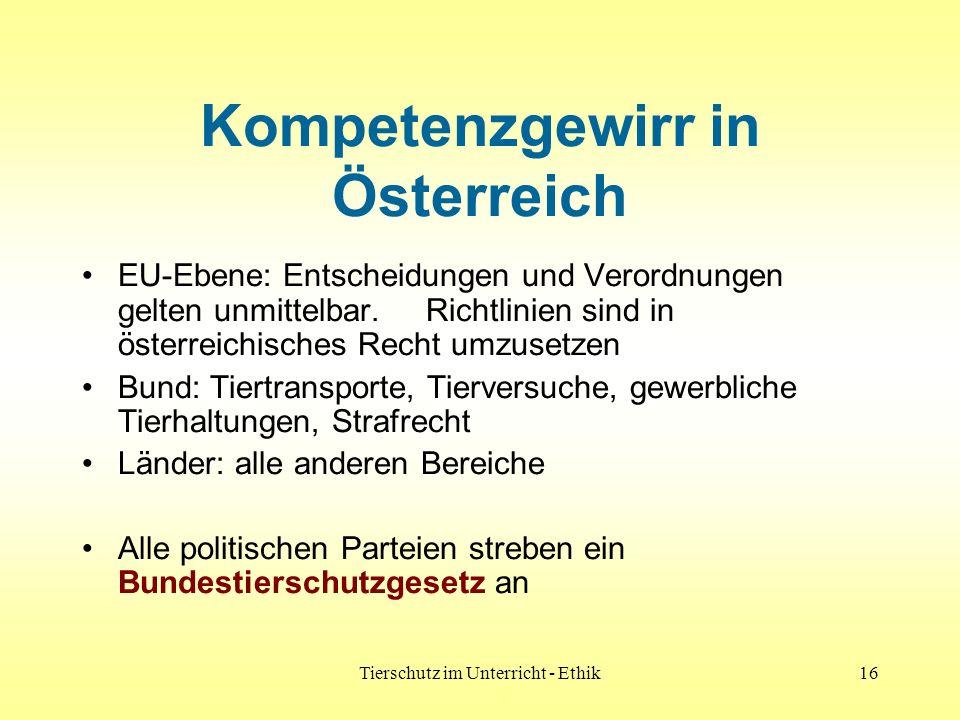 Tierschutz im Unterricht - Ethik16 Kompetenzgewirr in Österreich EU-Ebene: Entscheidungen und Verordnungen gelten unmittelbar. Richtlinien sind in öst