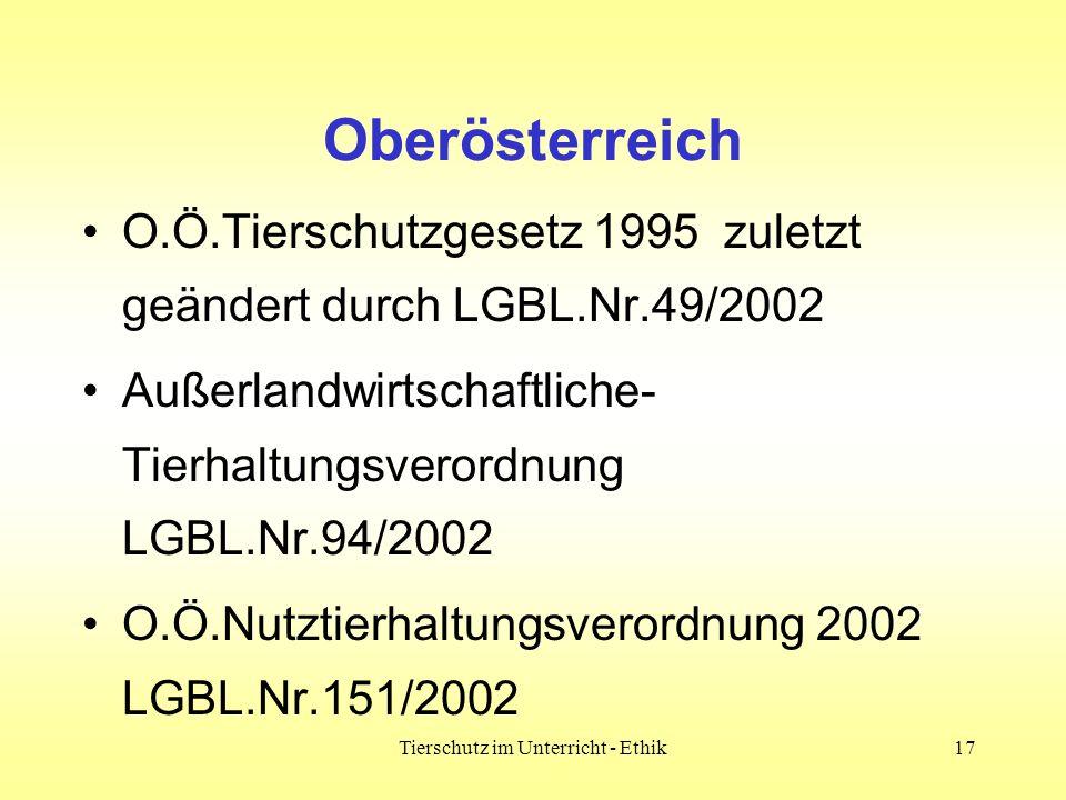 Tierschutz im Unterricht - Ethik17 Oberösterreich O.Ö.Tierschutzgesetz 1995 zuletzt geändert durch LGBL.Nr.49/2002 Außerlandwirtschaftliche- Tierhaltu