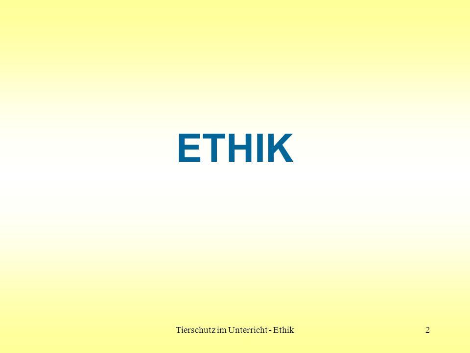 Tierschutz im Unterricht - Ethik13 Modelle 1 und 2 sind übersteigerte Extrempositionen Modell 3 ist ein Kompromiss Modell 3 wird den Bedürfnissen der Tiere und der Menschen gerecht