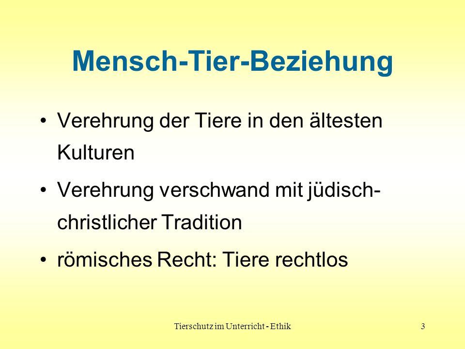 Tierschutz im Unterricht - Ethik4 Mensch-Tier-Beziehung Aufklärung: Tier = Sache Descartes: Tiere seelenlose Maschinen Mitte des 19.