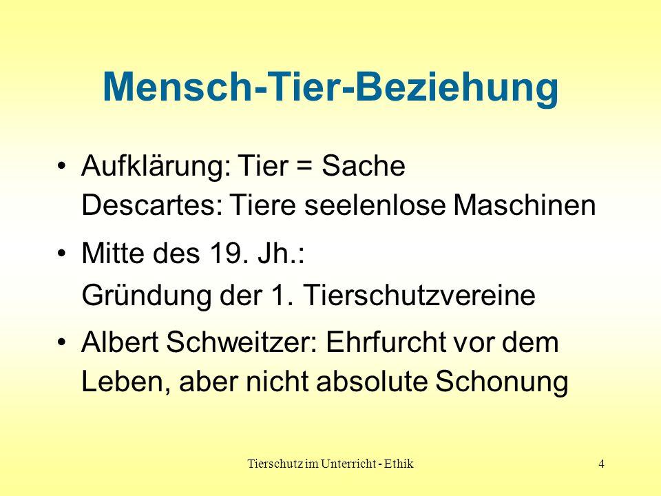 Tierschutz im Unterricht - Ethik4 Mensch-Tier-Beziehung Aufklärung: Tier = Sache Descartes: Tiere seelenlose Maschinen Mitte des 19. Jh.: Gründung der