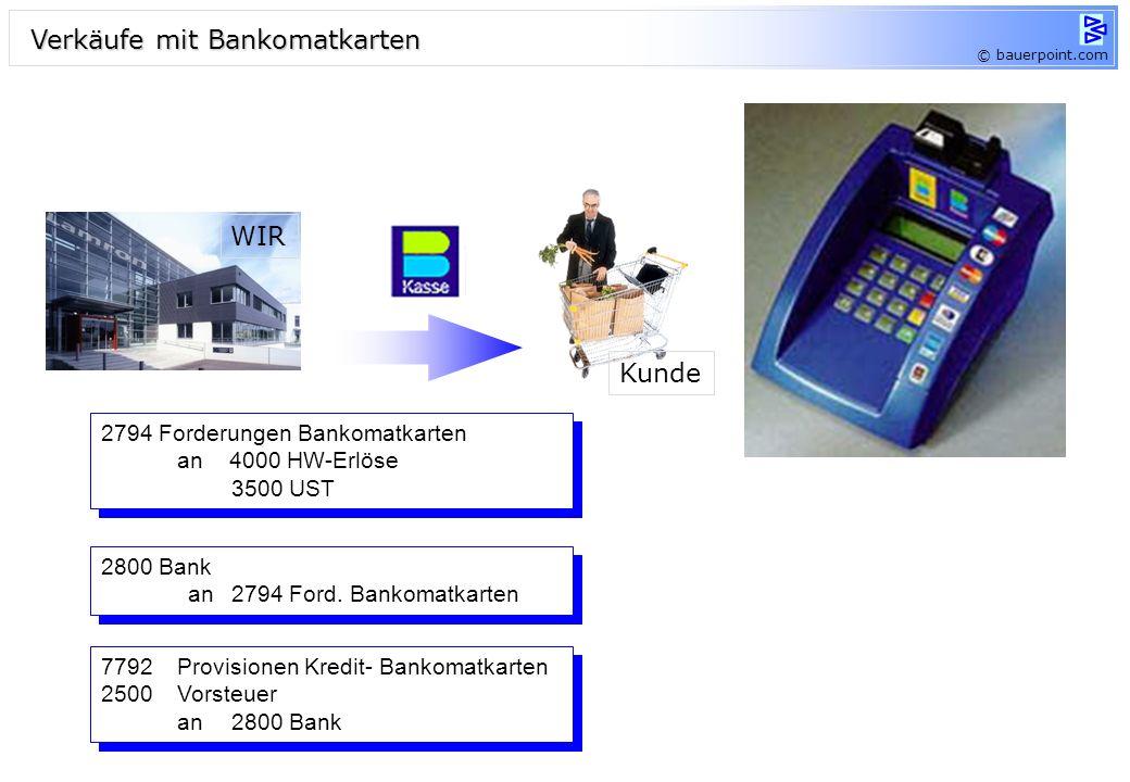 Zahlungen mit Kreditkarten Waren Geld 2791 Forderungen Visa an 4000 HW-Erlöse 3500 UST 2791 Forderungen Visa an 4000 HW-Erlöse 3500 UST 2800 Bank 7792