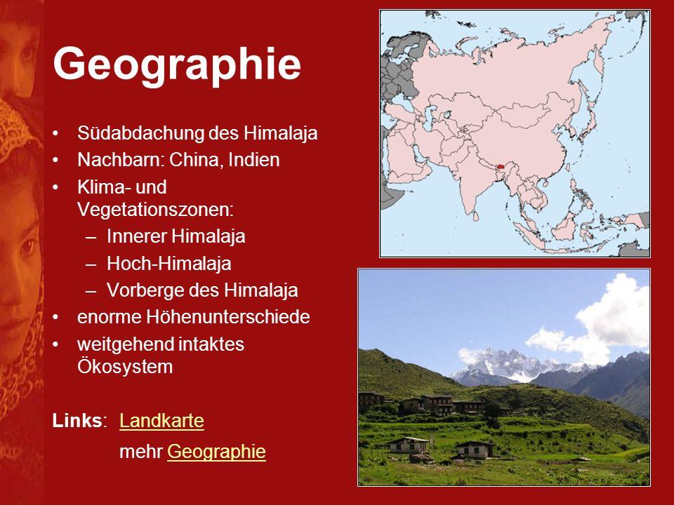 Geographie Südabdachung des Himalaja Nachbarn: China, Indien Klima- und Vegetationszonen: –Innerer Himalaja –Hoch-Himalaja –Vorberge des Himalaja enor