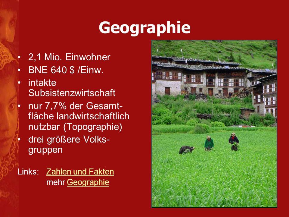 2,1 Mio. Einwohner BNE 640 $ /Einw. intakte Subsistenzwirtschaft nur 7,7% der Gesamt- fläche landwirtschaftlich nutzbar (Topographie) drei größere Vol