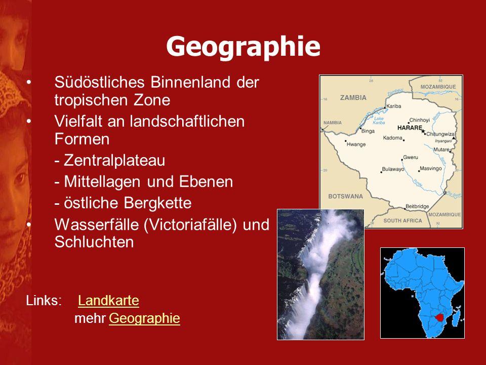 Geographie Südöstliches Binnenland der tropischen Zone Vielfalt an landschaftlichen Formen - Zentralplateau - Mittellagen und Ebenen - östliche Bergkette Wasserfälle (Victoriafälle) und Schluchten Links: LandkarteLandkarte mehr GeographieGeographie