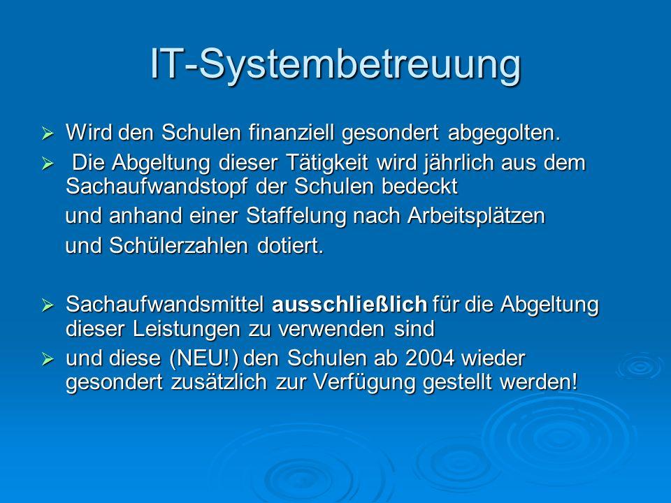 IT-Systembetreuung Wird den Schulen finanziell gesondert abgegolten. Wird den Schulen finanziell gesondert abgegolten. Die Abgeltung dieser Tätigkeit