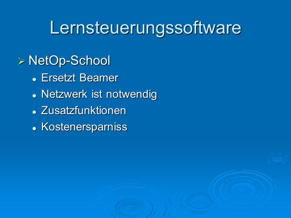 Lernsteuerungssoftware NetOp-School NetOp-School Ersetzt Beamer Ersetzt Beamer Netzwerk ist notwendig Netzwerk ist notwendig Zusatzfunktionen Zusatzfu