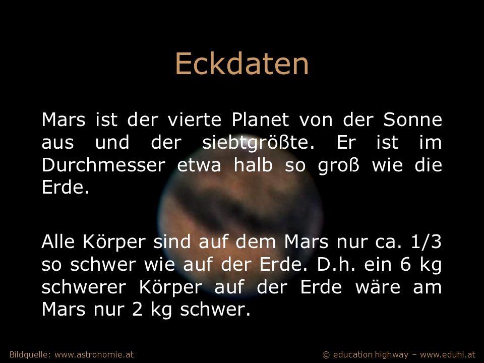 © education highway – www.eduhi.atBildquelle: www.astronomie.at Eckdaten Mars ist der vierte Planet von der Sonne aus und der siebtgrößte.