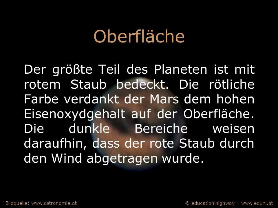 © education highway – www.eduhi.atBildquelle: www.astronomie.at Oberfläche Der größte Teil des Planeten ist mit rotem Staub bedeckt.