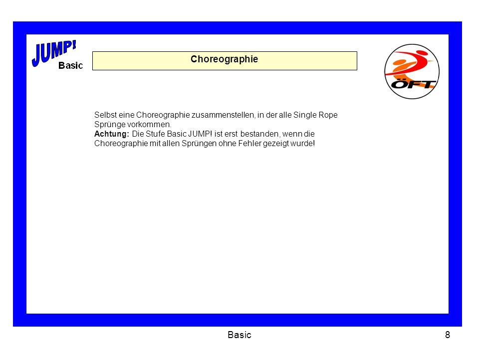 Basic8 Choreographie Selbst eine Choreographie zusammenstellen, in der alle Single Rope Sprünge vorkommen.