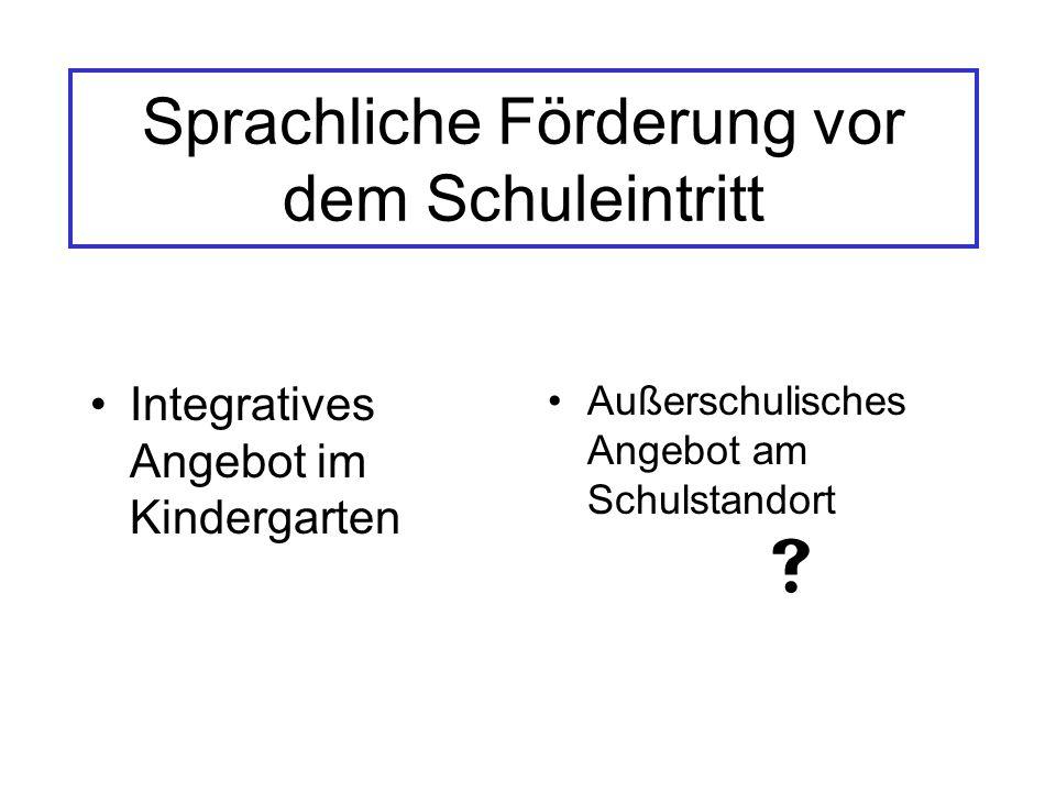 Sprachliche Förderung vor dem Schuleintritt Integratives Angebot im Kindergarten Außerschulisches Angebot am Schulstandort