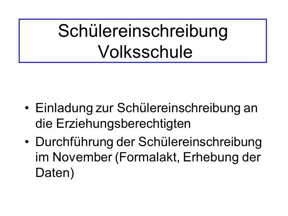 Schülereinschreibung Volksschule Einladung zur Schülereinschreibung an die Erziehungsberechtigten Durchführung der Schülereinschreibung im November (Formalakt, Erhebung der Daten)
